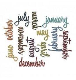 Tim Holtz Thinlits Die Set, Calendar Words: Script 12Pk