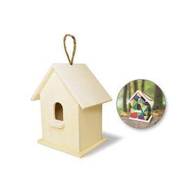 """MultiCraft Wood Craft: 6""""-6.5"""" Birdhouse w/Jute Hanger - A) Standard w/Stoop"""