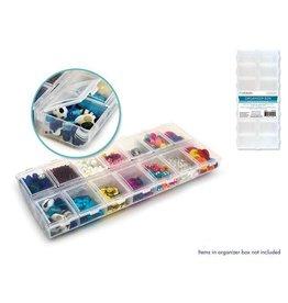 "MultiCraft Craft/Bead Storage: 9""x4""x1"" Organizer Box 14-Comp w/Snap Lids"