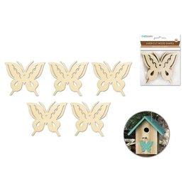 MultiCraft Wood Craft: 8cm Laser-Cut Ornament  Wood Shapes x5