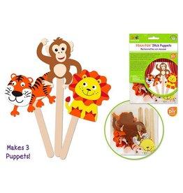 MultiCraft Krafty Kids Kit: DIY Foam Character Stick Puppets x3 - D) Jungle Pals