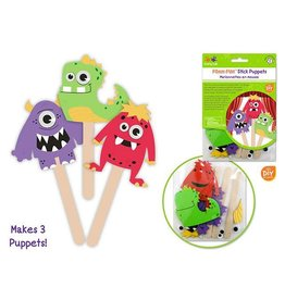 MultiCraft Krafty Kids Kit: DIY Foam Character Stick Puppets x3 - A) Monster Pals