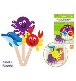 MultiCraft Krafty Kids Kit: DIY Foam Character Stick Puppets x3 - B) Sea Creatures