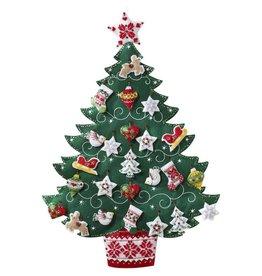 "Nordic Christmas Tree Advent Calendar Felt Applique Kit 17""X24"""