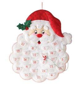 "Santa Advent Calendar Felt Applique Kit 14.5""X18"""