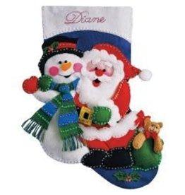 "Santa & Snowman  Felt Stocking Applique Kit 16"" Long"
