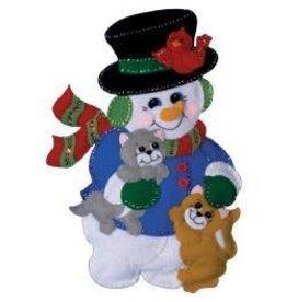 "Snowman Felt Wall Hanging Applique Kit 13""X18"""