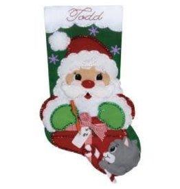 """Santa & Kitten Felt Stocking Applique Kit 18"""" Long"""