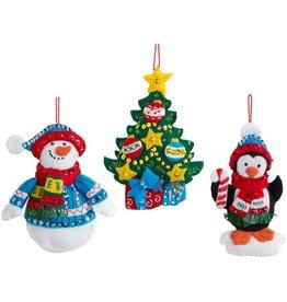 """Bucilla Felt Ornaments Applique Kit 4""""X6"""" Set of 6 Snowman"""