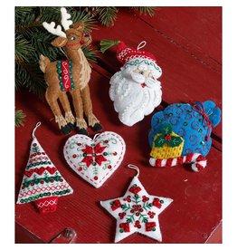 """Bucilla Felt Ornaments Felt Applique Kit 3.5""""X4.5"""" Set of 6 Nordic Santa"""