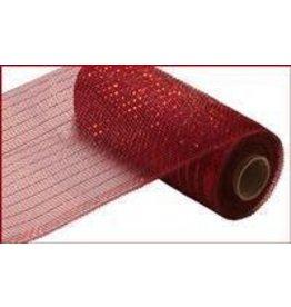 """Craig Bachman 10""""X10yd Metallic Mesh Burgundy W/Red Foil"""