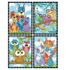 "Pencil Works Color By Number Kit 9""X12"" Animal Trios"