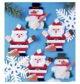 Plastic Canvas Ornaments Kit Santa & Snowman (7 Count)