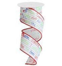 """Craig Bachman 2.5""""X10yd Dear Santa Letter/Royal Ribbon"""