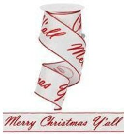"Craig Bachman 2.5""X10yd Merry Xmas Y'all, 22 Repeats Ribbon"