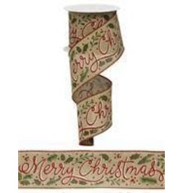 "Craig Bachman 2.5""X10yd Merry Christmas W/Holly Ribbon"