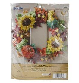 "Bucilla Felt Wreath Applique Kit 15"" Round Harvest Time"