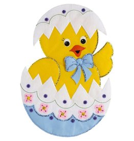 "Bucilla Felt Wall Hanging Applique Kit 15""X22"" Easter Chick"