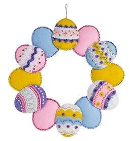 "Bucilla Felt Wreath Applique Kit 15"" Round Easter Eggs"