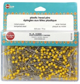 "HEIRLOOM Quilting Plastic Head Pins Yellow - 500pcs - 45mm (13⁄4"")"