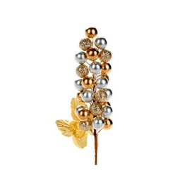 Artificial Berry Stems: Gold/Pewter, 2.36 x 7.5 inches