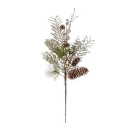 Artificial Berry Spray with Pinecones and Holly: 19in