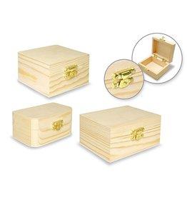 "Wood Box Assortment: 3.13""-3.94"" w/Clasp"