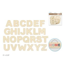 "Wood Letters: 3""-3.25"" Laser Cut 2mm Plywood 3-Ply x26 - B) Block"