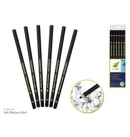 Charcoal Pencils x6 (Soft/Med/Hard) - 2 Each Soft/Med/Hard