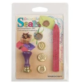 Decorative 3 Coin Sealing Set W/Pink Wax Butterfly, Cake & Heart