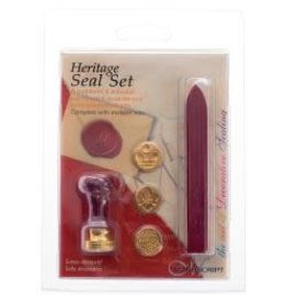 Decorative 3 Coin Sealing Set W/Wax Heritage W/Red
