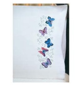"""Tobin Stamped For Embroidery Pillowcase Pair 20""""X30"""" Butterflies"""