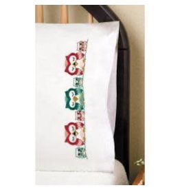 """Tobin Stamped For Embroidery Pillowcase Pair 20""""X30"""" Owls"""