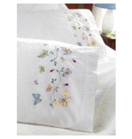 "Bucilla Stamped Embroidery Pillowcase Pair 20""X30"" Butterflies In Flight"