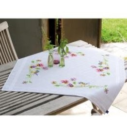 """Vervaco Tablecloth Stamped Embroidery Kit 32""""X32"""" Little Birds & Pansies"""