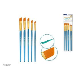 Canva Deluxe Taklon Brush Sets x5 Wood Handle - Angular