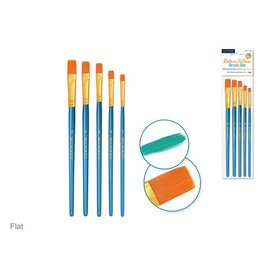 Canva Deluxe Taklon Brush Sets x5 Wood Handle - Flat