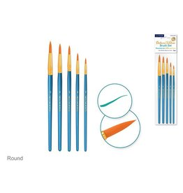 Canva Deluxe Taklon Brush Sets x5 Wood Handle - Round