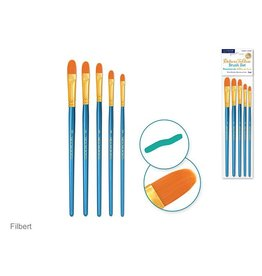 Canva Deluxe Taklon Brush Sets x5 Wood Handle - Filbert