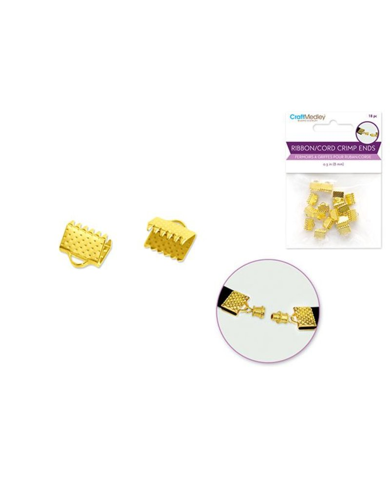 8mm Ribbon/Cord End Clasp x18 Metal - Gold