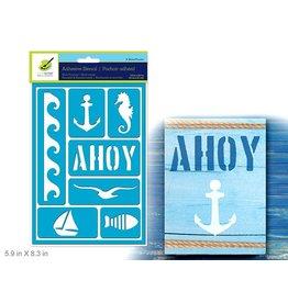 "5.9""x8.3"" Reusable & Repositionable Adhesive Stencils -Nautical"