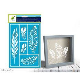 """5.9""""x8.3"""" Reusable & Repositionable Adhesive Stencils - Feathers"""