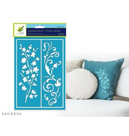 "5.9""x8.3"" Reusable & Repositionable Adhesive Stencils -Big Vines"