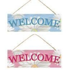 "15""L X 5""H Welcome W/Daisies Sign 2 Asst Colors"