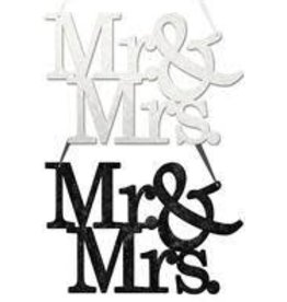 "11.75""L ""Mr & Mrs"" Word Sign 2 Assorted-Black, White"