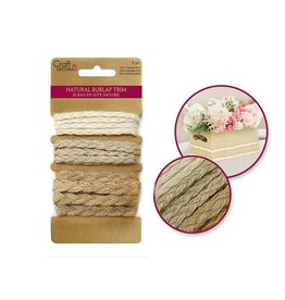 Natural Burlap Trim Multi-Pack 3yds (1yd x 3) -Braided Trims