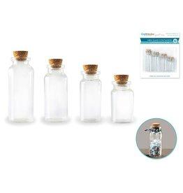 Glass Bottles: Mini Containers w/Cork Lid x4 7ml/10ml/15ml/20ml