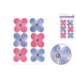 Floral Embellish: 40mm Embossed x6 w/Gem Setting Self-Stick -Princess