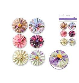 """Handmade Sticker: 1.87""""+2.18"""" 3D Button Pinwheels x6 - Floral"""