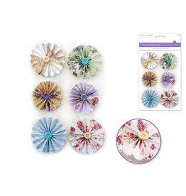 """Handmade Sticker: 1.87""""+2.18"""" 3D Button Pinwheels x6 - Delicate"""